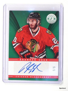 13-14 Panini Totally Certified Emerald  Brandon Saad autograph auto #D5/5 *42903