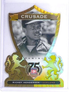 2014 Panini Hall Of Fame Crusade Gold Diecut Rickey Henderson #D02/10 *55860