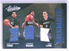2016-17 Absolute Team Trios Towns Wiggins LaVine Triple Jersey #D08/49 #1 *65756