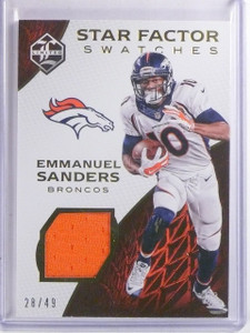 2016 Limited Star Factor Swatches Emmanuel Sanders Jersey #D28/49 #21 *66599