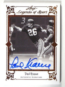 2012 Leaf Legends of Sport Paul Krause auto autograph #BA-PK1 *40251