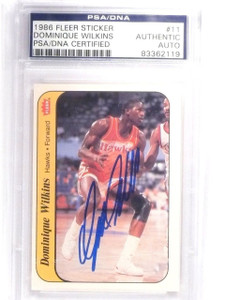 1986-87 Fleer Stickers Dominique Wilkins Rookie Autograph PSA/DNA Authentic  *61