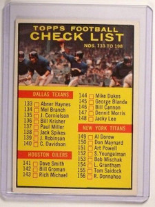 1961 Topps Football Check List #198 EXMT *45579