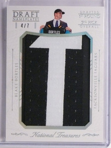 2015 National Treasures Blake Bortles Draft Nameplates Letter Patch #D4/7 *55118