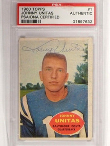 1960 Topps Johnny Unitas #1 Signed autograph PSA/DNA Slabbed Certified *48652