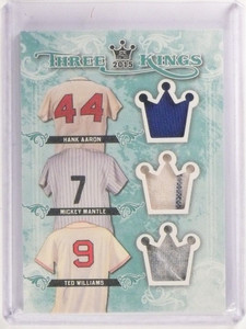 2015 SportKings Three Hank Aaron Mickey Mantle Ted Williams jersey sp/3! *53352