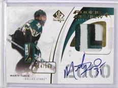 09-10 Sp Authentic Marty Turco auto autograph 3clr patch #D14/100 *29098