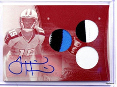 2013 Triple Threads White Whale Justin Hunter autograph auto patch rc #D 1/1 *42