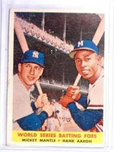 1958 Topps World Series Batting Foes Mickey Mantle Hank Aaron #418 Vg *60432