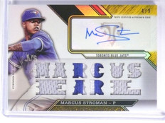 2016 Topps Triple Threads Gold Marcus Stroman autograph patch jersey #D4/9 *5846