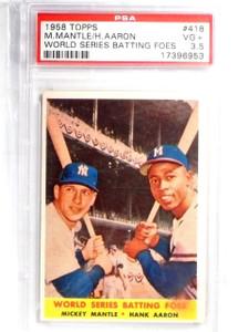 1958 Topps World Series Foes Mickey Mantle & Hank Aaron #418 PSA 3.5 *58438