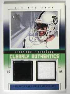 2004 Fleer EX Clearly Authentics Jerry Rice Patch & Jersey #D22/44 *39922