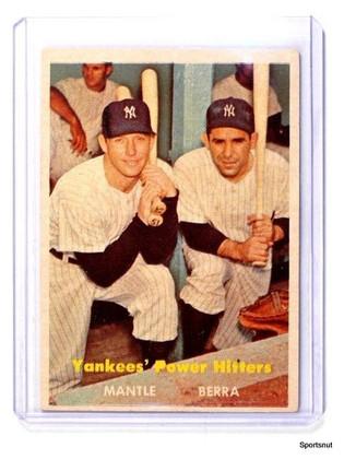 1957 Topps Yankees Power Hitters Mickey Mantle & Yogi Berra #407 VG-EX *43442