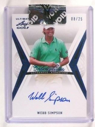 SOLD 2596 2012 Leaf Ultimate Golf Webb Simpson Autograph Auto #d08/25 Silver Foil *45696