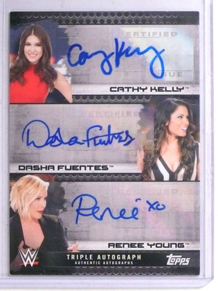 SOLD 14208 2017 Topps WWE Cathy Kelly DashaFuentes Renee Young autograph #D02/10 *67634