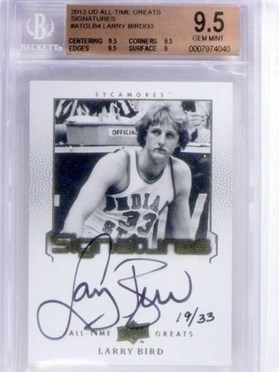 DELETE 14944 2013 Upper Deck All-Time Greats Larry Bird autograph auto #D19/33 BGS 9.5 *68327