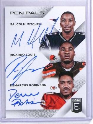 2016 Elite Pen Pals Malcolm Mitchell Ricardo Louis Robinson autograph *68800