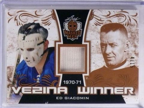 2017 Leaf Masked Men Vezina Winner Ed Giacomin jersey #D4/15 #VW-EG1 *68964