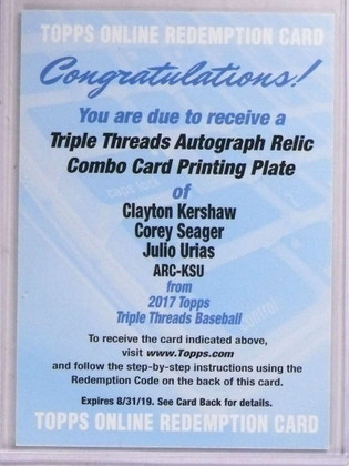 DELETE 15643 2017 Triple Threads Kershaw Seager Urias White Whale autograph 1/1 *69215