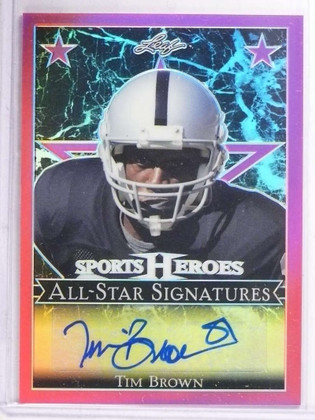 SOLD 15947 2017 Leaf Metal Sports Heroes Pink Tim Brown autograph auto #D4/4 *69358