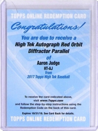 DELETE 16105 2017 Topps High Tek Red Orbit Aaron Judge autograph auto rc rookie /5 *69778