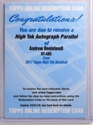 SOLD 17107 2017 Topps High Tek Andrew Benintendi autograph auto rookie #HT-ABE *70056
