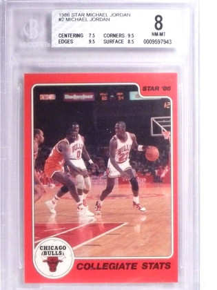 SOLD 19233 1986 Star Michael Jordan rookie #2 BGS 8 NM-MT Bulls *71863
