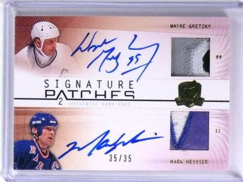 SOLD 19304 2009-10 UD The Cup Signature Patches Wayne Gretzky Messier auto patch /35 *71886