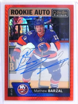 SOLD 19307 2016-17 O-Pee-Chee Platinum Red Prism Mathew Barzal autograph rc /50 *71920