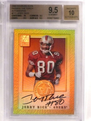 SOLD 19466 2000 Donruss Elite Passing The Torch Jerry Rice autograph #80/1500 BGS 9.5 *72185