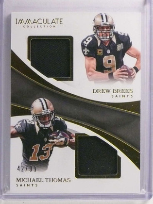 SOLD 19637 2017 Panini Immaculate Drew Brees Michael Thomas dual jersey #D42/99 *72370