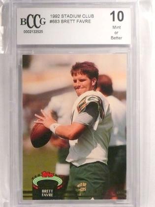 1992 Stadium Club Brett Favre rc rookie #683 BCCG 10 Packers HOF *72454