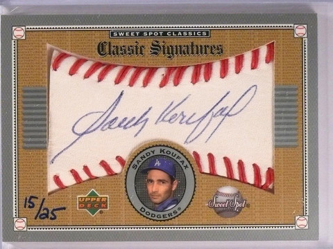 SOLD 11076 2002 Sweet Spot Classic Signatures Gold Sandy Koufax autograph #D15/25 *50487