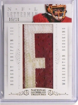 """SOLD 8985 2013 National Treasures NFL Letterman Robert Griffin III """"F"""" Patch #D05/10 *5516"""