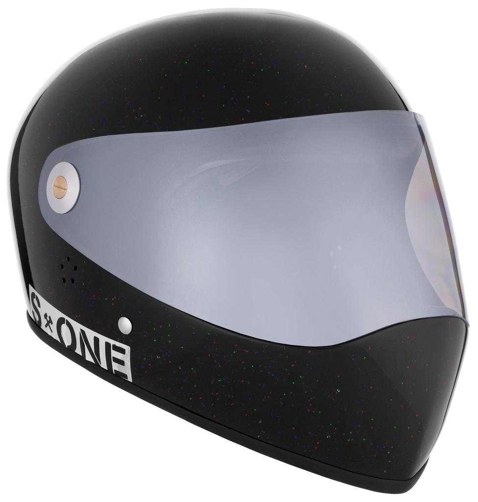 Black Gloss Glitter W/ Mirror Visor   S1 Lifer Full Face Helmet Specs: • Specially formulated EPS Fusion Foam • Certified Multi-Impact (ASTM) • Certified High Impact (CPSC) • 5x More Protective Than Regular Skate Helmets • Deep Fit Design