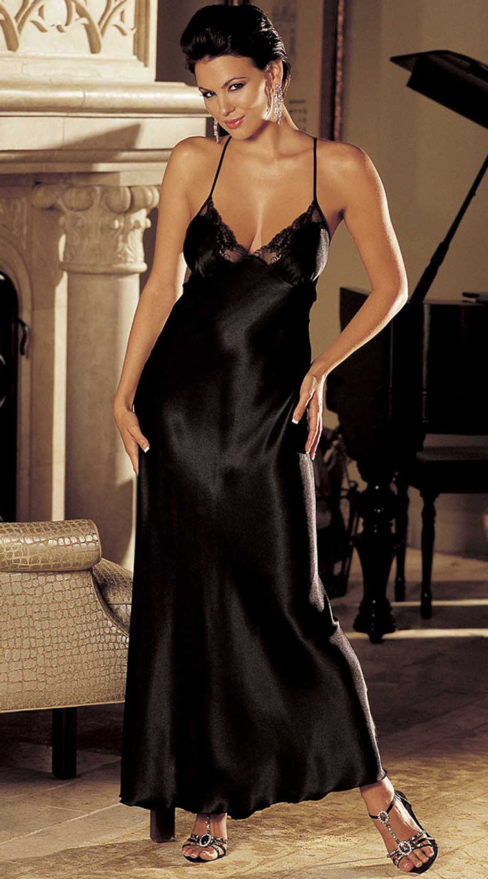 Black Satin and Lace Night Gown | Shirley of Hollywood 20300