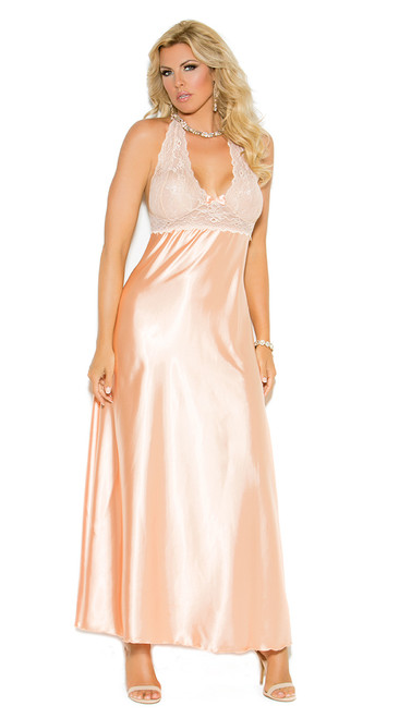 Plus Size Peach Charmeuse Night Gown