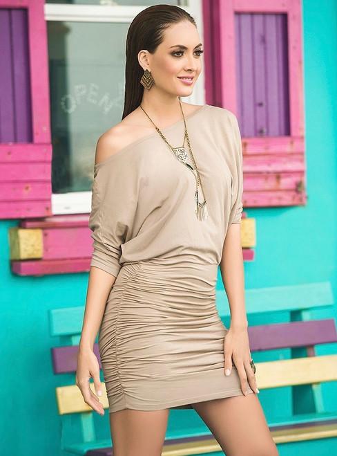 Mocha Off The Shoulder Mini Dress