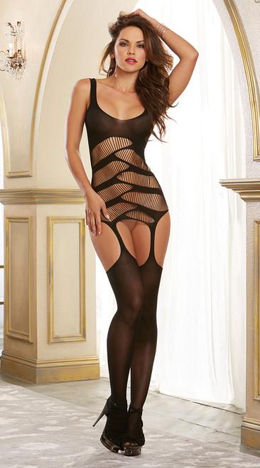 Black Strappy Cutout Detail Garter Dress