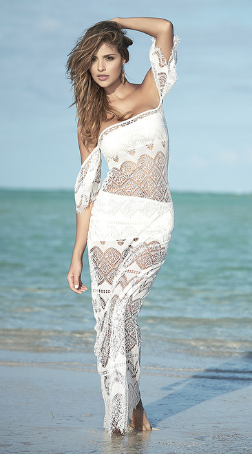 Ivory Long Netted Beach Dress Set