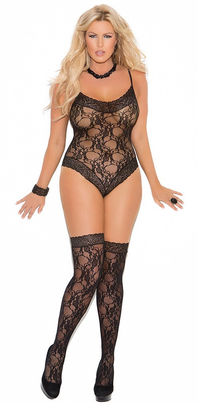 Plus Size Black Lace Teddy and Thigh Highs