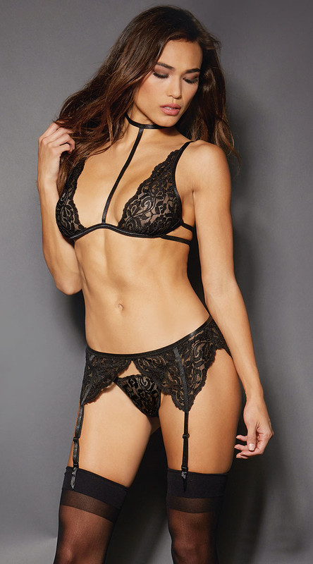 Black Stretch Lace Bra Set