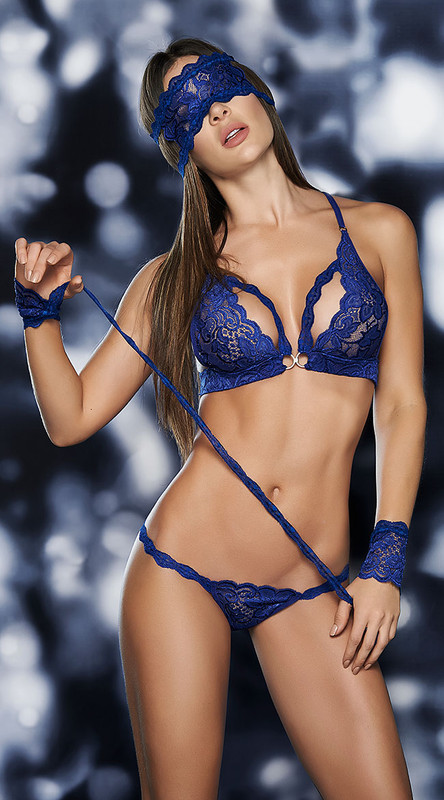 Royal Blue Lace Bra Set with Mask and Wrist Restraints