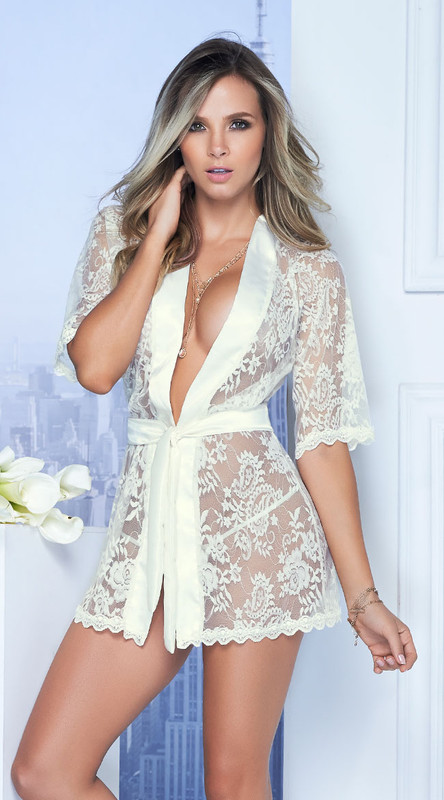 Sexy Ivory Lace and Satin Short Robe