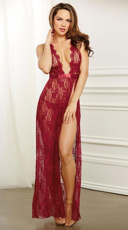 Garnet Lace Halter Long Night Gown
