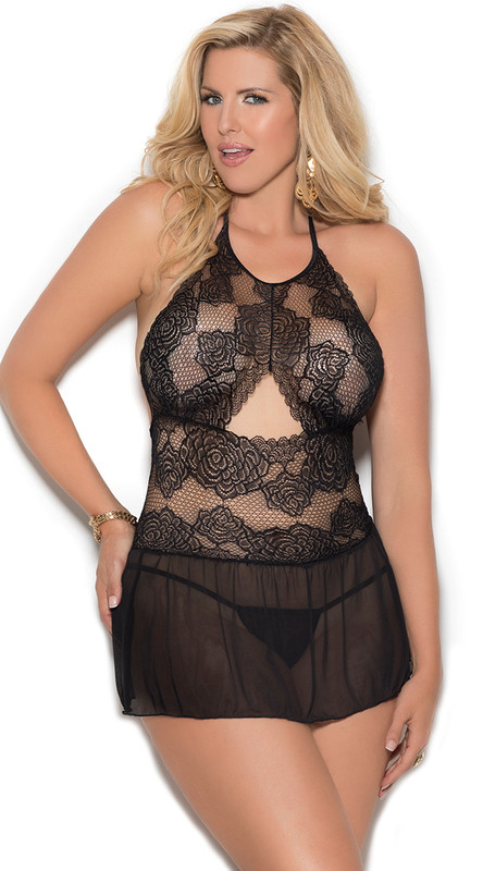 Plus Size Black Sheer Mesh Floral Lace Babydoll Set