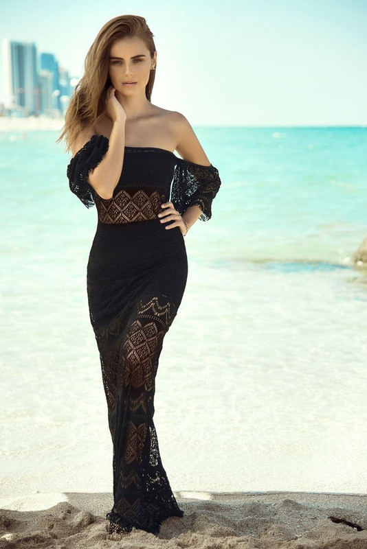 Black Netted Long Beach Dress Set