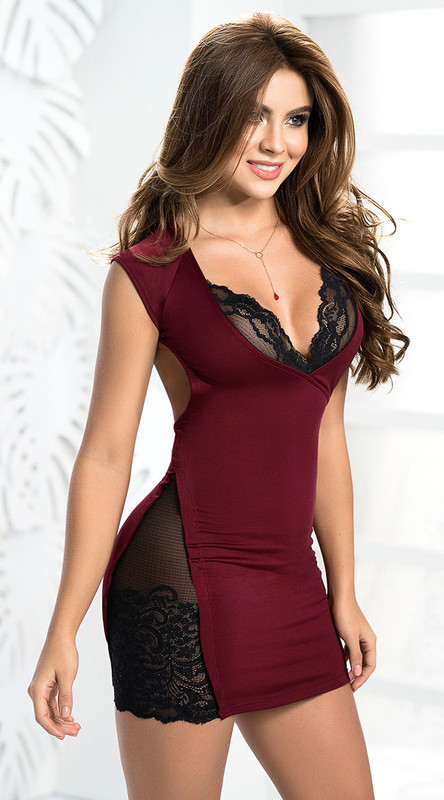 Burgundy and Black Lace Mini Dress