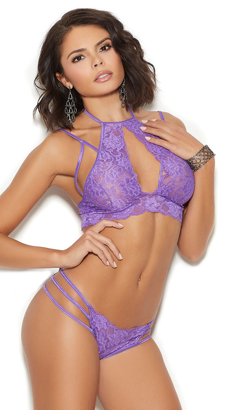 Elegant Purple Lace Bralette Set