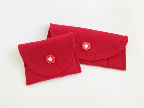 Red with pink flower button